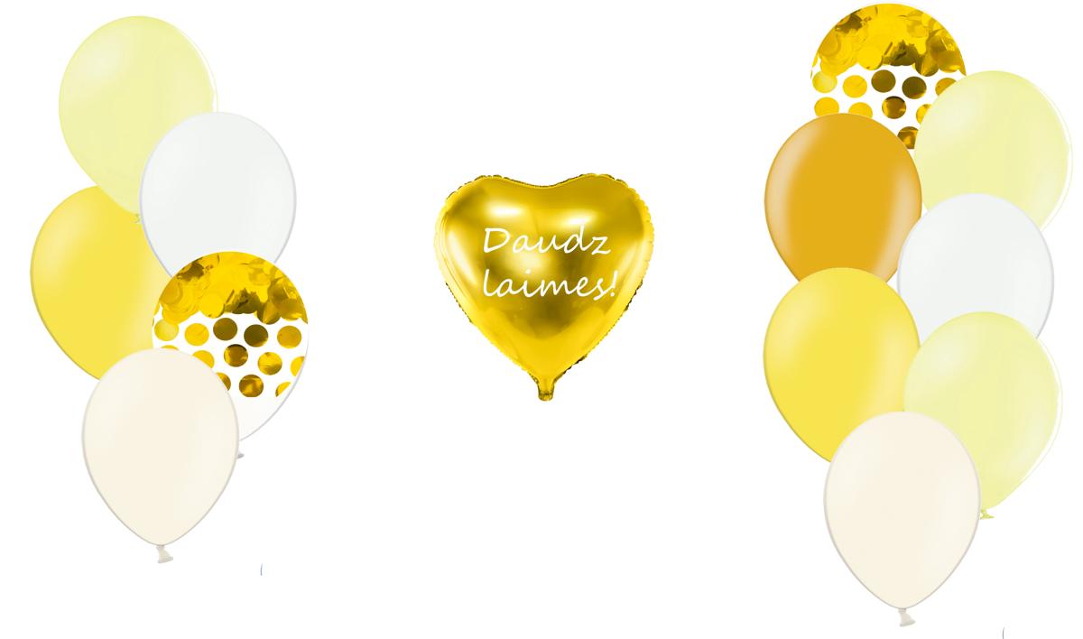 Personalizētā sirds kompozīcija Saldumi, gaiši dzeltenā tonī