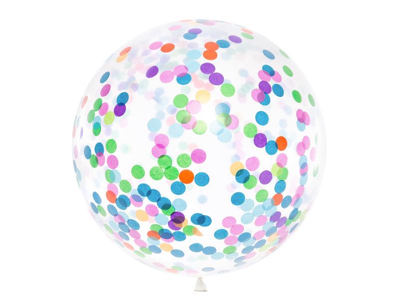 Konfeti balons ar daudzkrāsainu pildījumu, 1m
