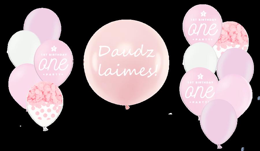 Personalizētā gigantiskā kompozīcija 1.dzimšanas diena, maigi rozā