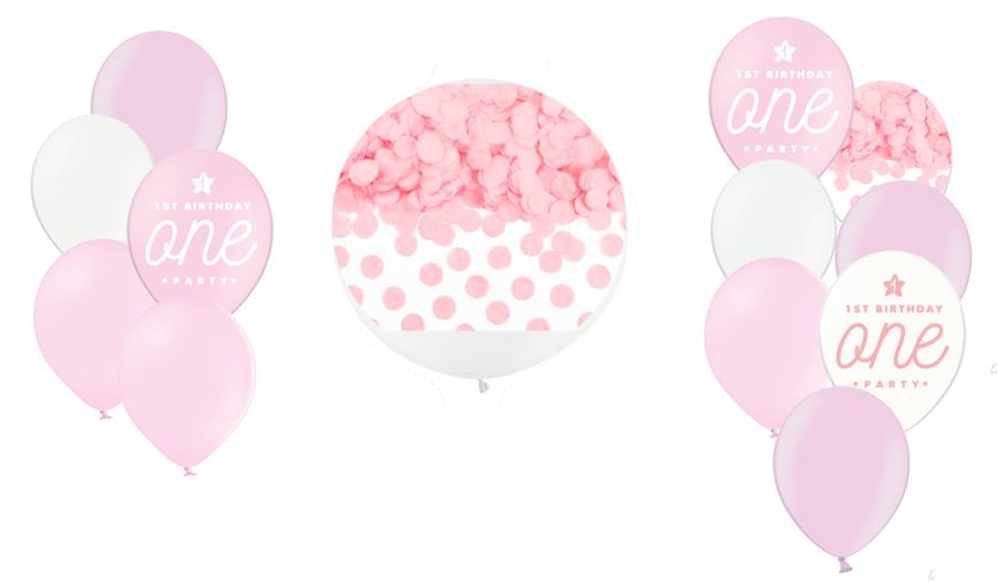 Tematiskā kompozīcija 1.dzimšanas diena, maigi rozā
