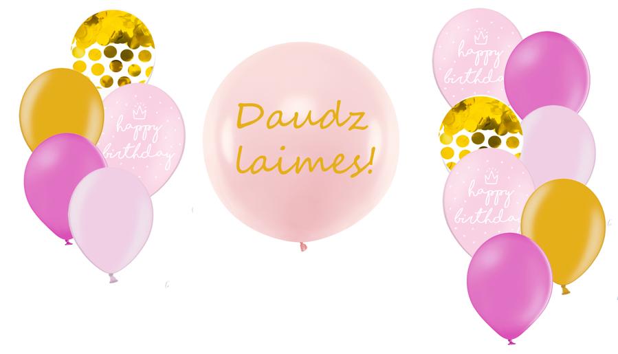 Personalizētā gigantiskā kompozīcija Dzimšanas diena, rozā toņos