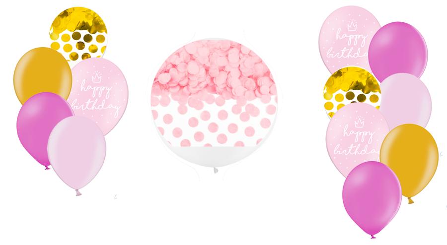 Tematiskā kompozīcija Dzimšanas diena, rozā toņos