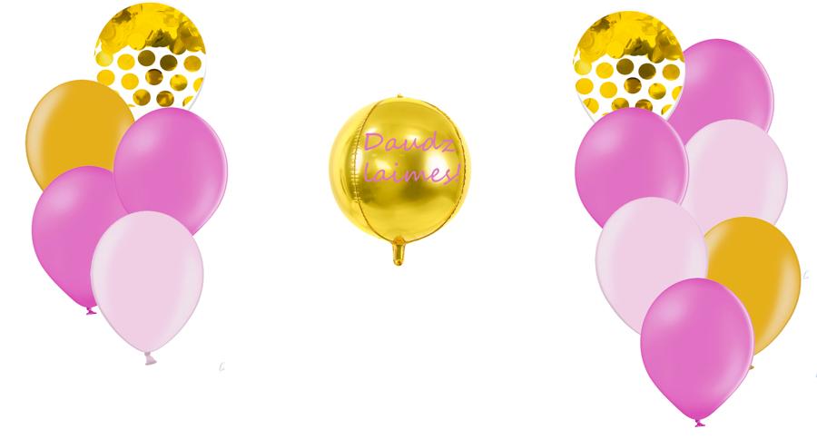 Personalizētā bumbas kompozīcija Dzimšanas diena, rozā toņos
