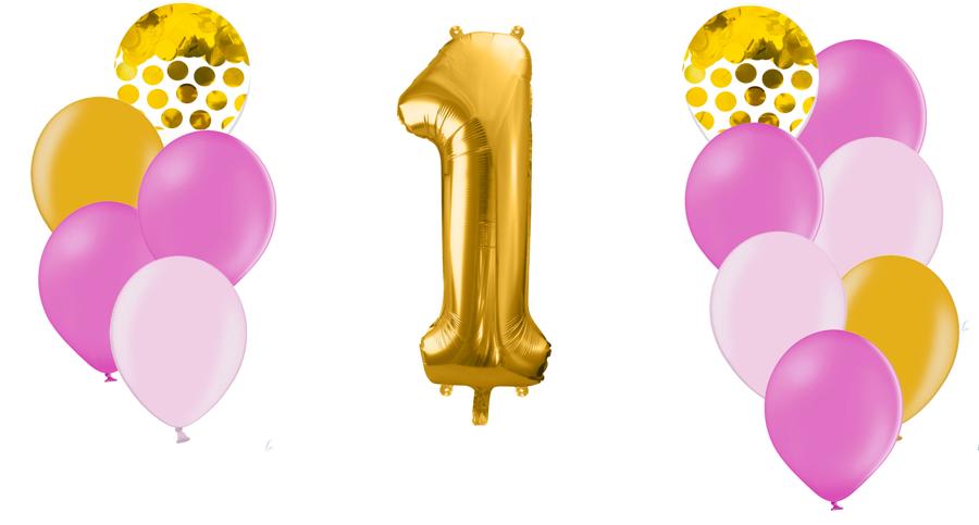 Zelta ciparu kompozīcija Dzimšanas diena, rozā toņos