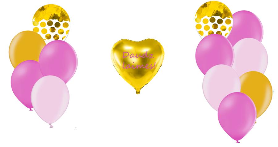 Personalizētā sirds kompozīcija Dzimšanas diena, rozā toņos