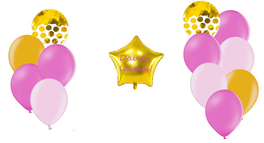 Personalizētā zvaigznes kompozīcija Dzimšanas diena, rozā toņos
