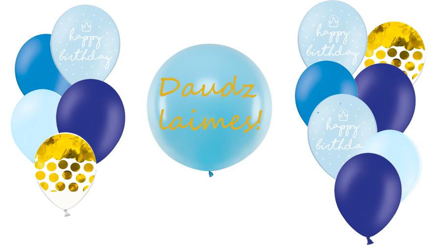 Personalizētā gigantiskā kompozīcija Dzimšanas diena, zilos toņos
