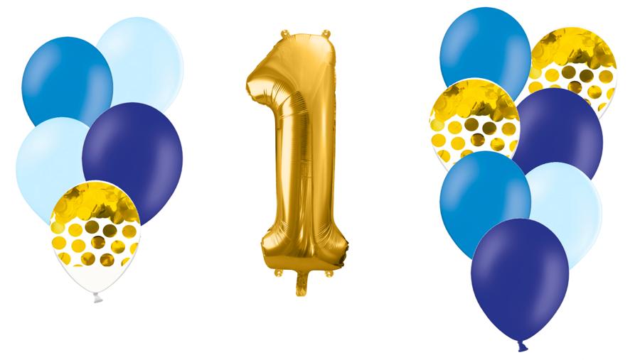 Zelta ciparu kompozīcija Dzimšanas diena. zilos toņos
