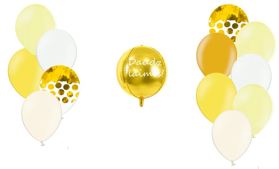 Personalizētā bumbas kompozīcija Saldumi, gaiši dzeltenā tonī