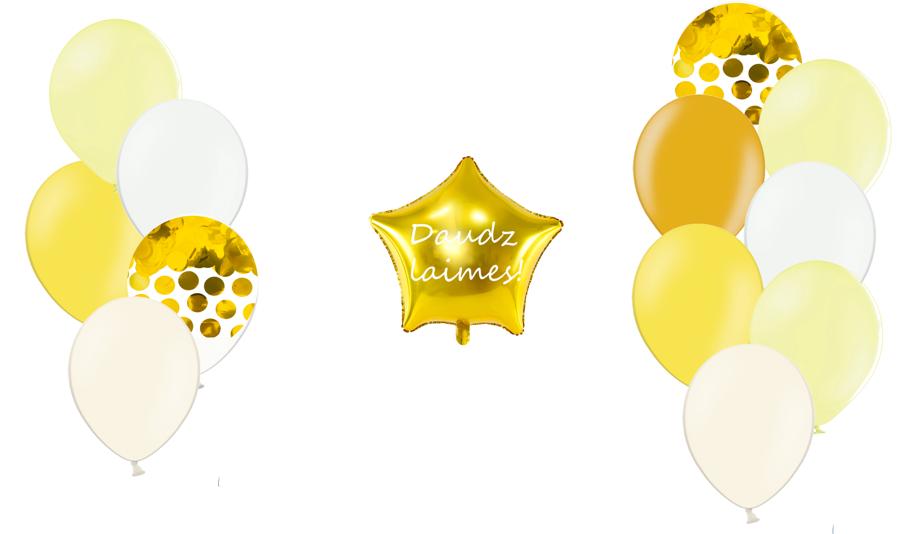 Personalizētā zvaigznes kompozīcija Saldumi, gaiši dzeltenā tonī