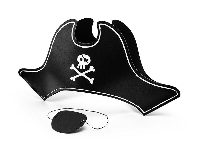 Ballīšu cepure Pirātu 14 cm un acs aizsegs, melna