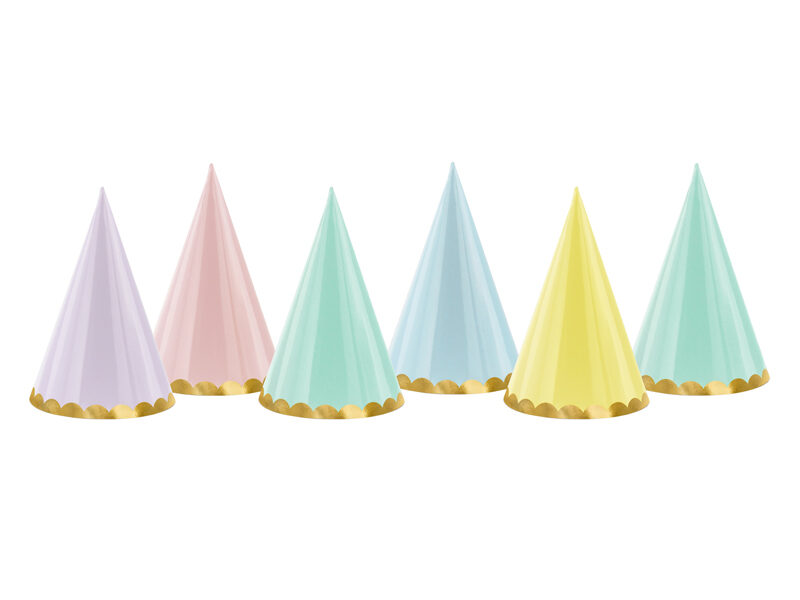 Ballīšu cepures Saldumi d10cm/h16cm, krāsainas ar zelta maliņu