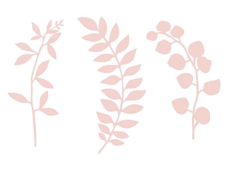 Papīra dekori Lapu rotājums 6.5-19cm, pūdera rozā tonī