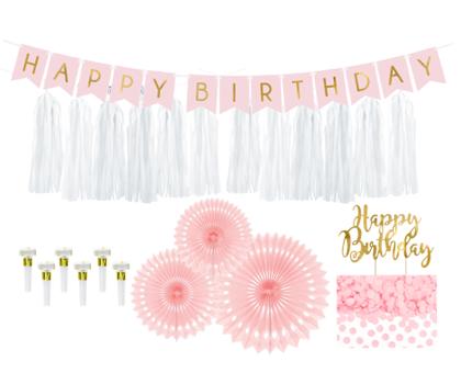 Dekoru komplekts 1. dzimšanas diena, maigi rozā