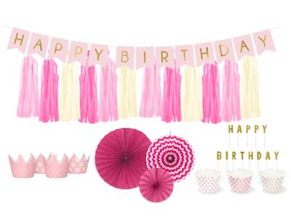 Dekoru komplekts Dzimšanas diena, rozā toņos