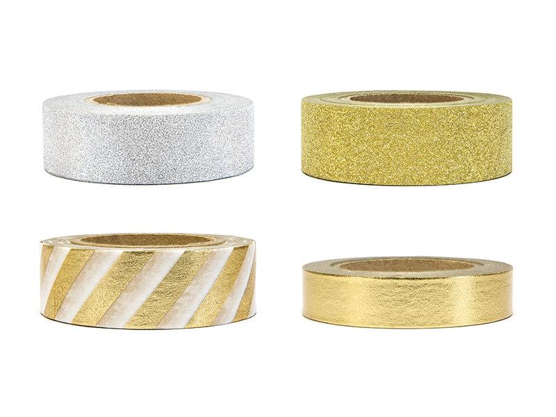 Dekoratīvā līmlente 1-1.5cm/10m, zelta/sudraba tonī