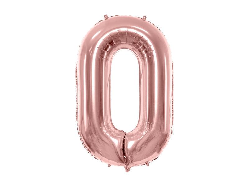 "Folija balona cipars ""0"" 86cm, rozā zelta"