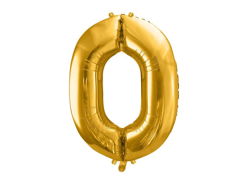 "Folija balona cipars ""0"" 86cm, zelta"