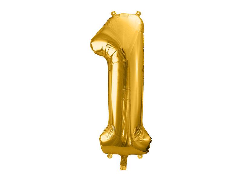 "Folija balona cipars ""1"" 86cm, zelta"