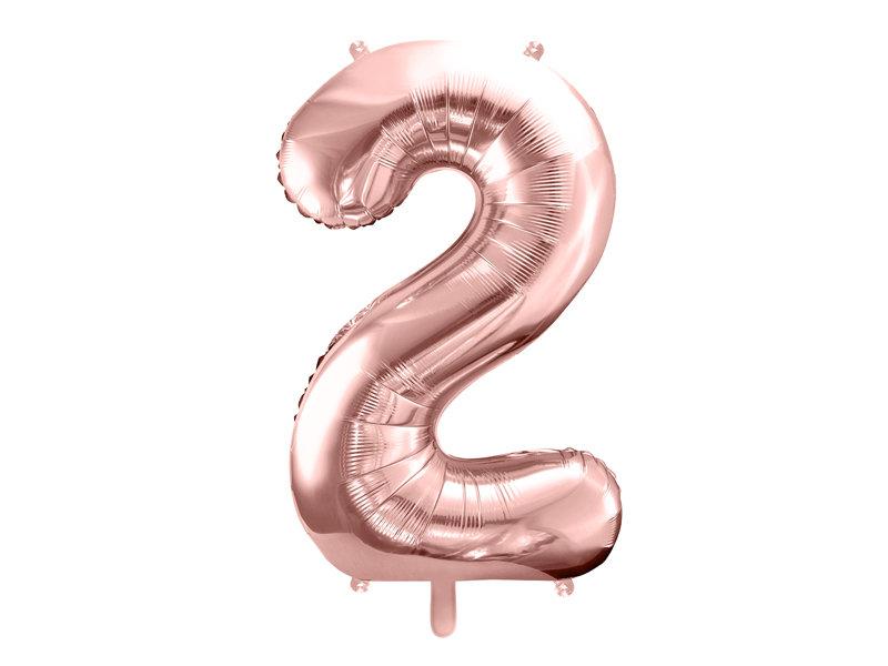 "Folija balona cipars ""2"" 86cm, rozā zelta"