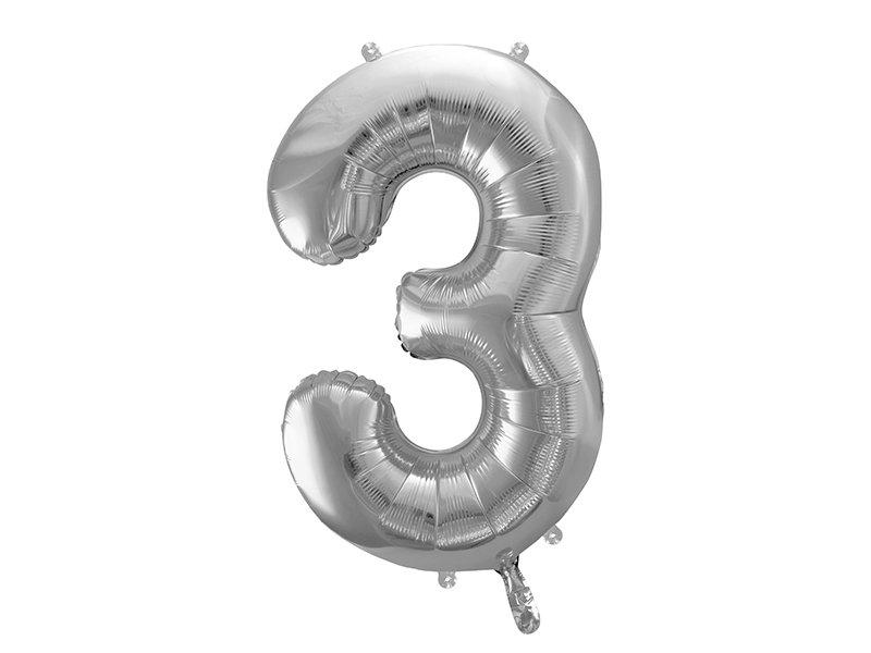 "Folija balona cipars ""3"" 86cm, sudraba"