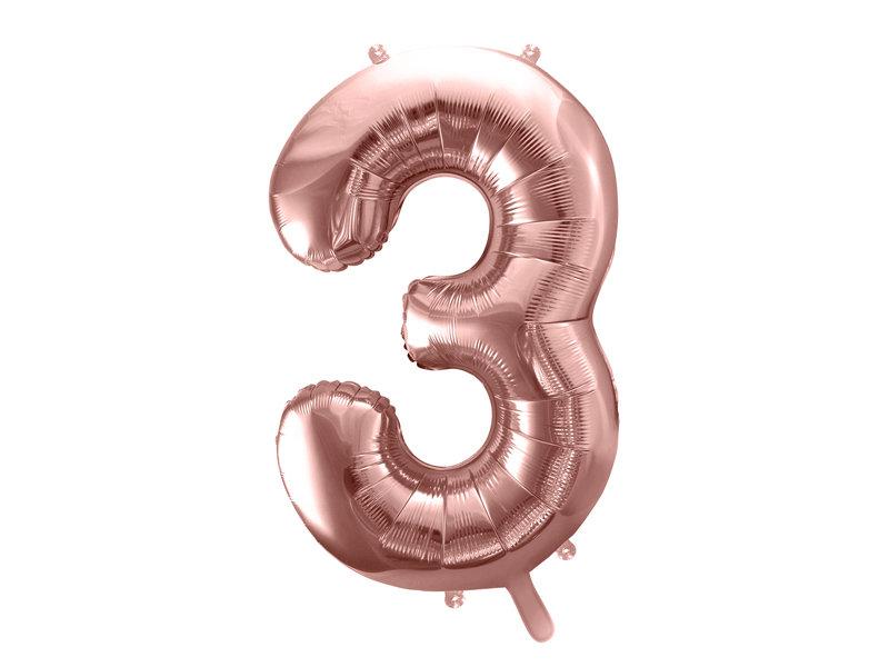 "Folija balona cipars ""3"" 86cm,  rozā zelta"