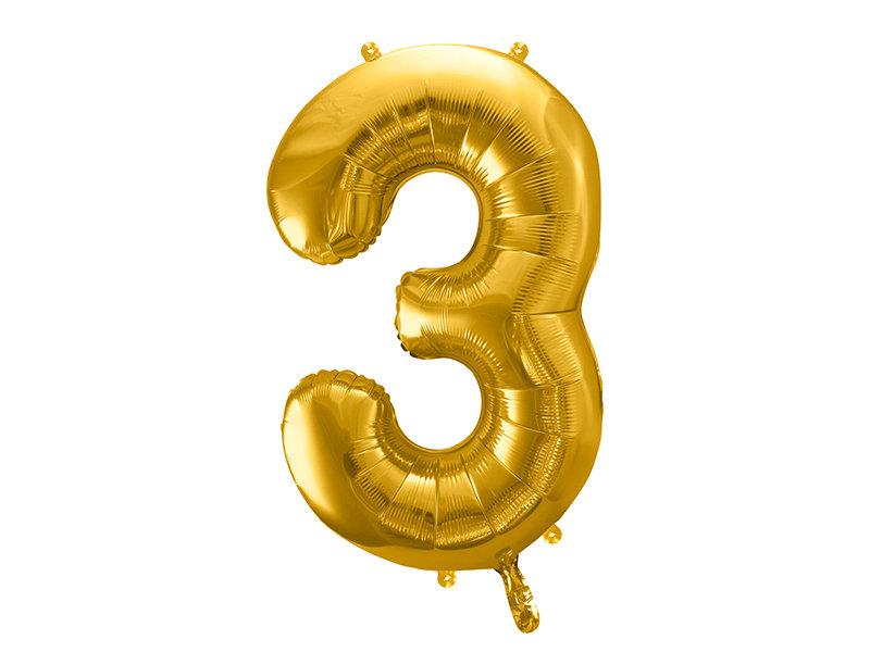 "Folija balona cipars ""3"" 86cm, zelta"