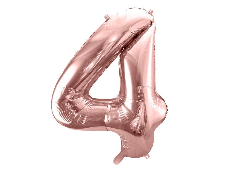 "Folija balona cipars ""4"" 86cm, rozā zelta"