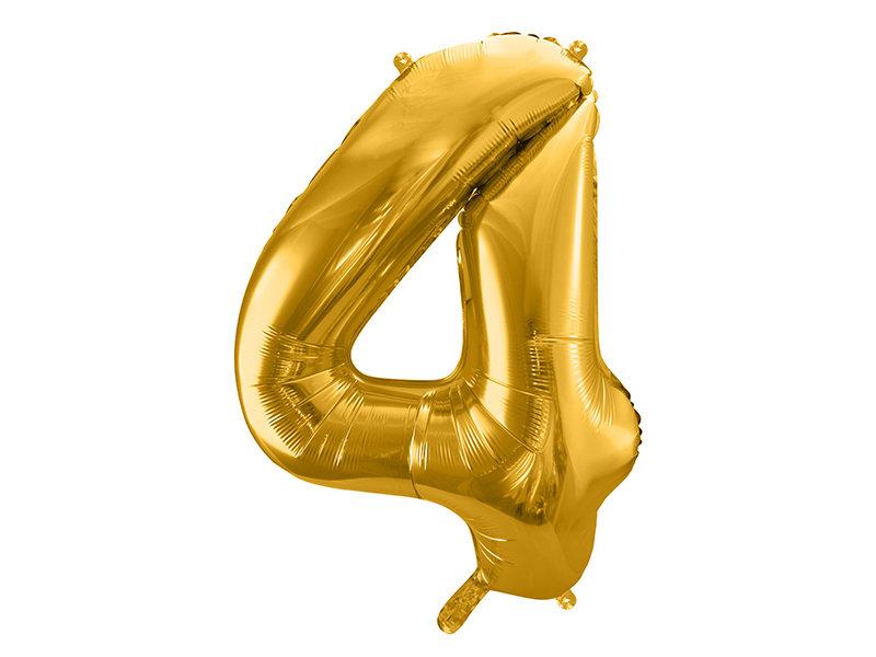 "Folija balona cipars ""4"" 86cm, zelta"