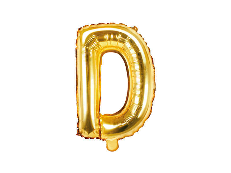 "Folija balona burts ""D"" 35cm, zelta"
