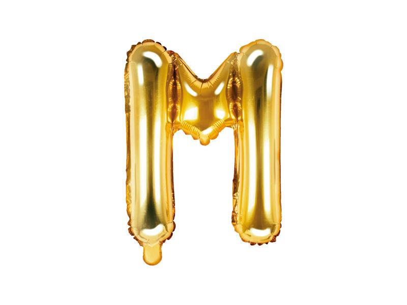 """Folija balona burts """"M"""" 35cm, zelta"""