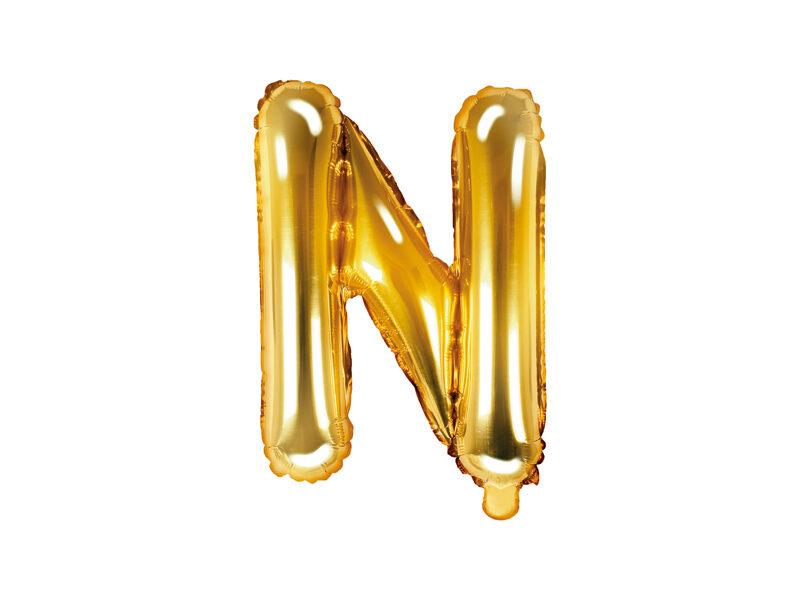 "Folija balona burts ""N"" 35cm, zelta"