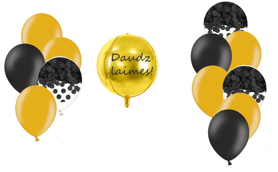 Personalizētā bumbas kompozīcija Melnā elegance