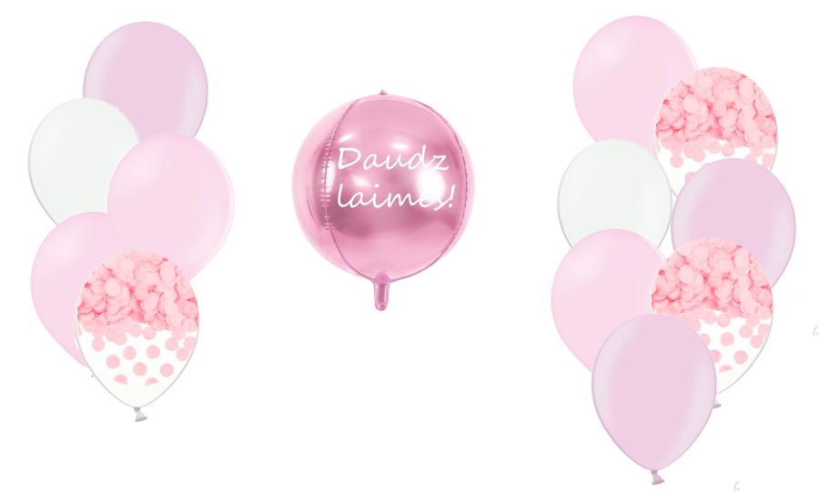 Personalizētā bumbas kompozīcija 1.dzimšanas diena, maigi rozā