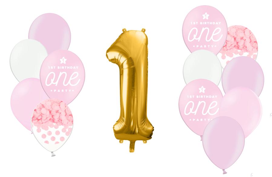 Zelta ciparu kompozīcija 1.dzimšanas diena, maigi rozā