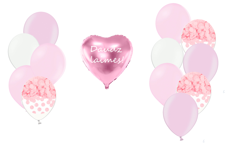Personalizētā sirds kompozīcija 1.dzimšanas diena, maigi rozā