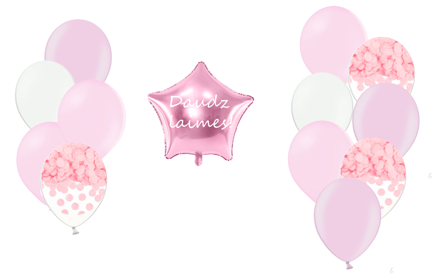 Personalizētā zvaigznes kompozīcija 1.dzimšanas diena, maigi rozā