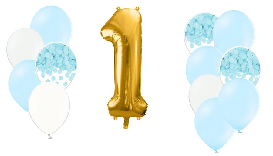 Zelta ciparu kompozīcija 1.dzimšanas diena, debesu zila