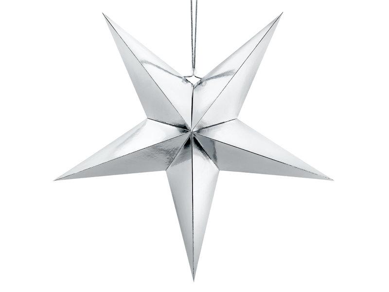 Papīra zvaigzne 70cm, sudraba