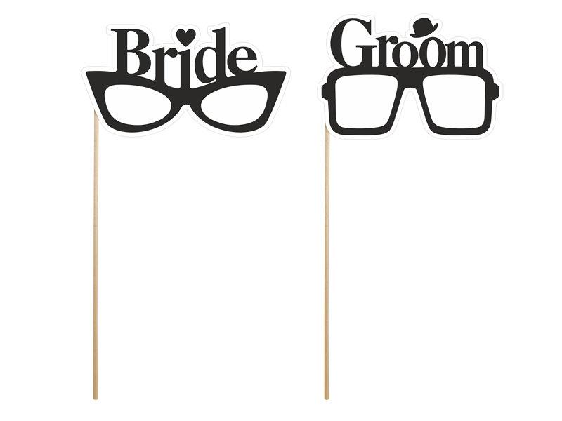 Foto kociņu brilles ar uzrakstu Bride&Groom