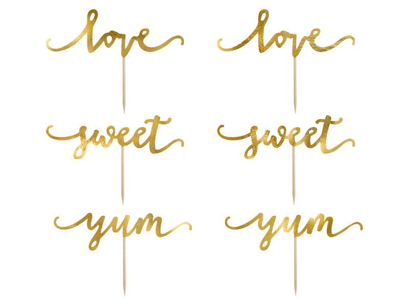 Kēksa dekors Saldumi Sweet/Love/Yum 13 cm, zelta tonī