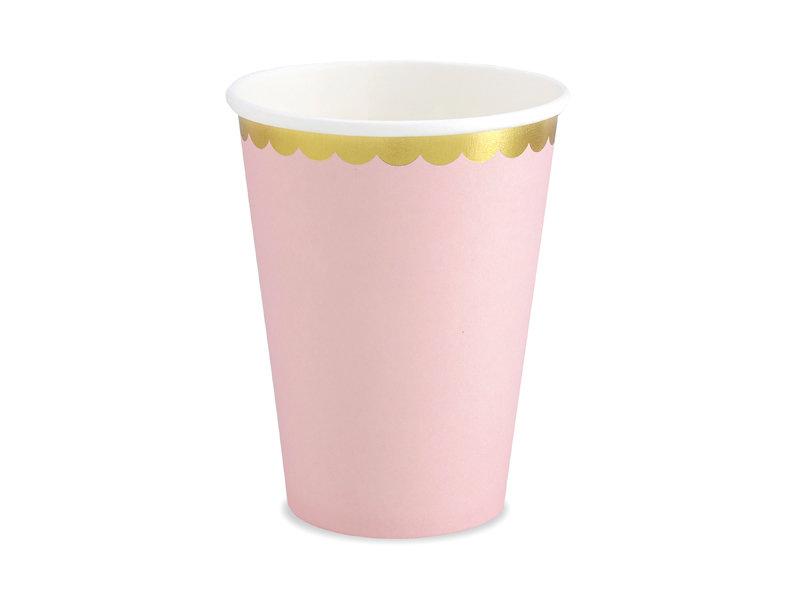 Glāzes 220ml, maigi rozā ar zelta maliņu