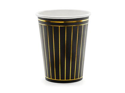 Glāzes Melnā elegance 260ml, ar zelta strīpām