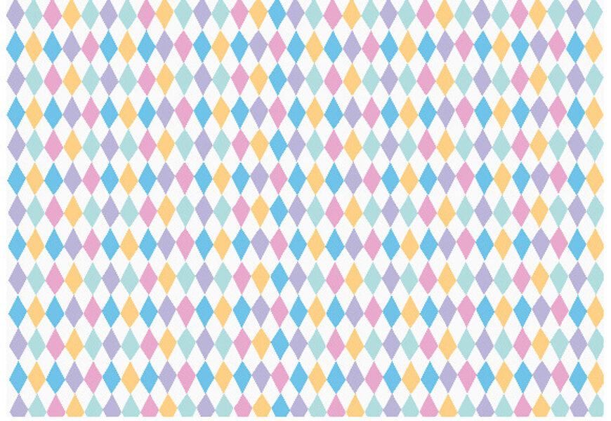 Dāvanu papīrs Mazuļi 100x68.5cm, balts ar krāsainiem rombiem