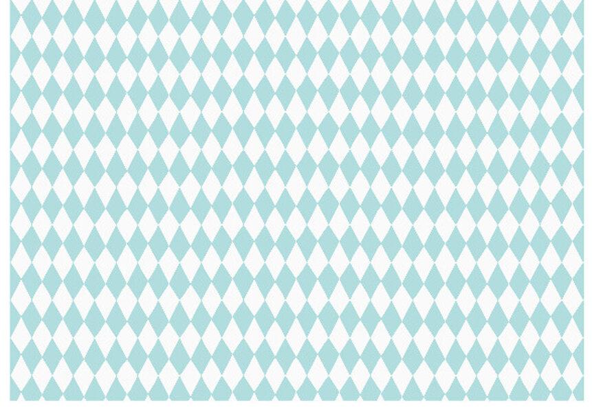Dāvanu papīrs Mazuļi 100x68.5cm, balts ar tirkīzziliem rombiem
