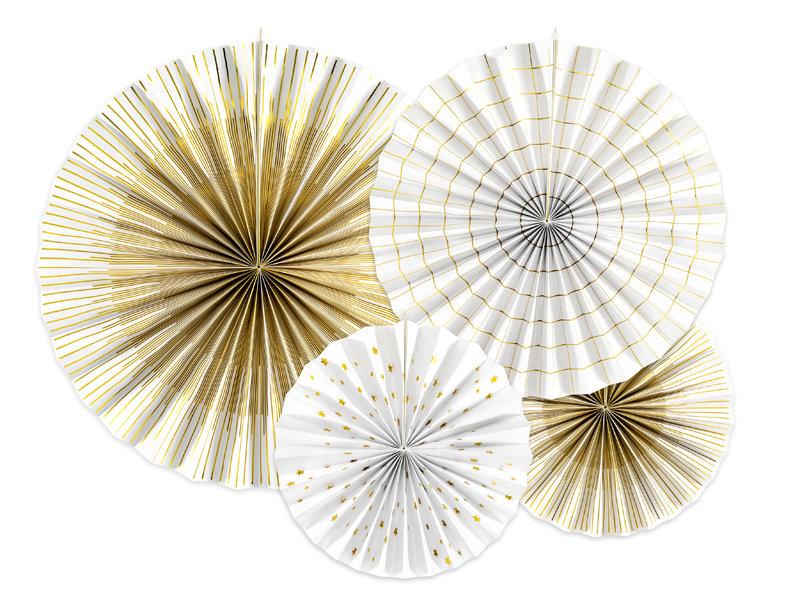 Dekoratīvās rozetes 23-40cm, baltas ar zelta rakstu