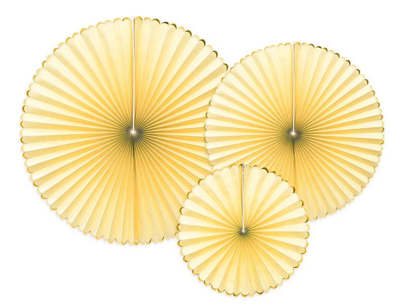 Dekoratīvās rozetes 23-40cm, dzeltenas ar zeltu