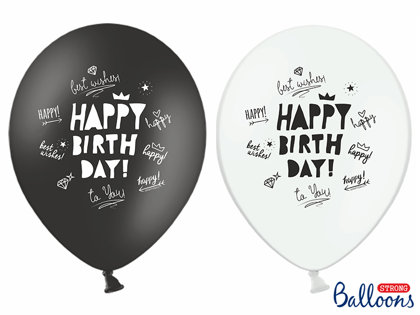 Balonu komplekts Happy birthday, melnbalts