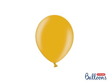 Izturīgie baloni perlamutra 12cm, zelta tonī