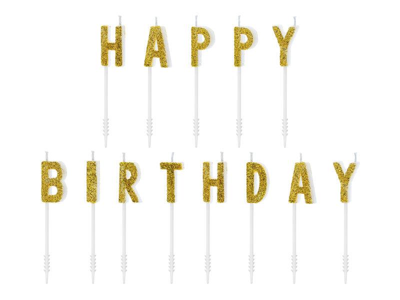 Sveces kūkai Happy Birthday 2.5cm, zelta tonī